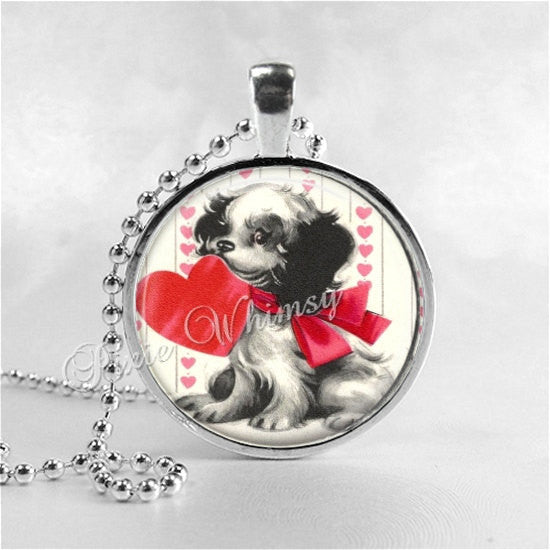 VALENTINE DOG Pendant Necklace Jewelry, Vintage Retro Valentine Jewelry, Valentine Puppy Heart Love, Valentine Gift for Dog Lover