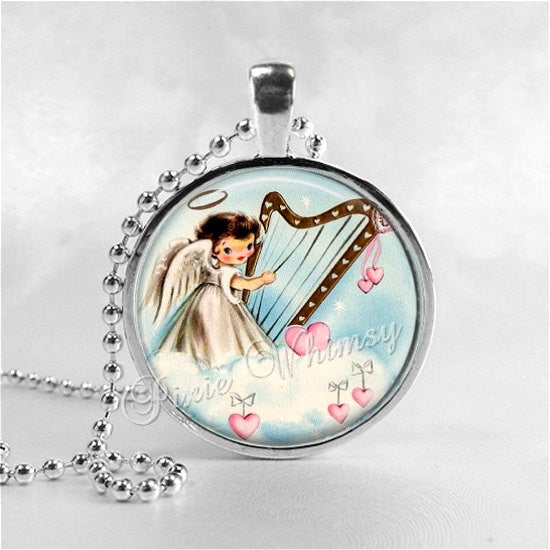 ANGEL Pendant Necklace Jewelry, Vintage Angel, Pink Hearts, Retro Angel Ephemera Nostalgia, Vintage Christmas Jewelry