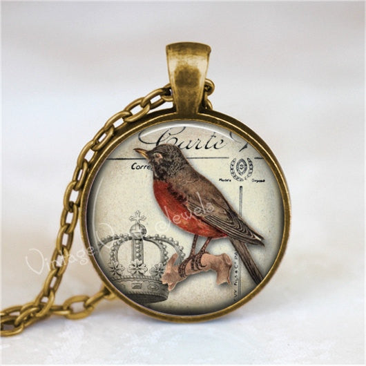 ROBIN Necklace, Robin Jewelry, Robin Pendant, Robin Charm, Red Bird, Robin Red Breast, Bird Necklace, Robin, Glass Art Pendant Necklace