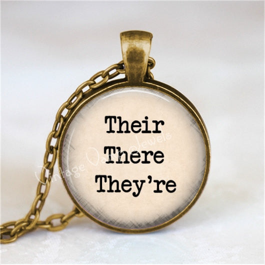 Their There They're Necklace, Grammar Police, Good Grammar, English Teacher, Teacher Gift, Teacher Jewelry, Correct Grammar, Editor Gift