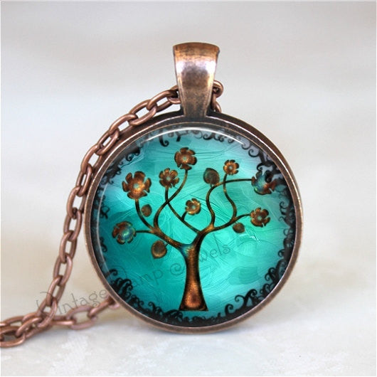 Tree Necklace, Copper Tree Necklace, Tree Pendant, Copper Tree, Watercolor Tree, Curly Tree,Teal, Aqua, Blue, Copper, Modern Abstract Tree