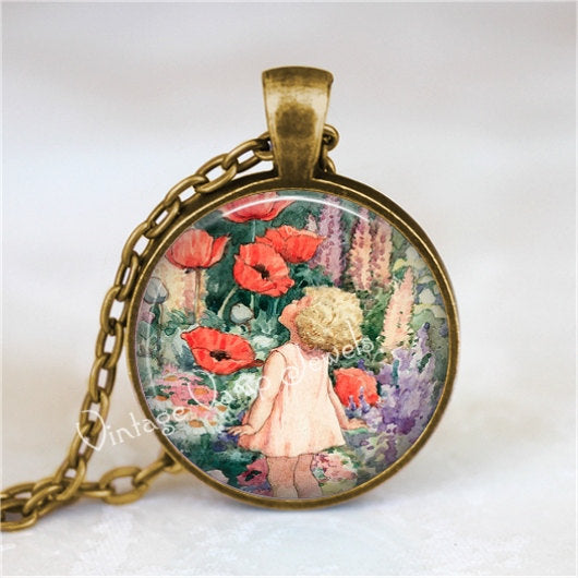 POPPY Necklace,  Poppy Pendant, Poppy Flower Necklace, Poppy Jewelry, Poppies, Garden Necklace, Victorian Art, Red Poppy Flower