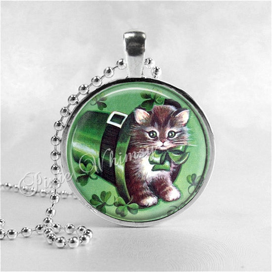 ST PATRICKS Day Jewelry Pendant Necklace Irish Cat Kitten Shamrock Irish Jewelry Four Leaf Clover Leprechaun Lucky Charm Good Luck Green