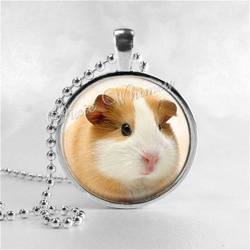 GUINEA PIG Necklace, Guinea Pig Jewelry, Guinea Pig Pendant, Guinea Pig Charm, Glass Photo Art Necklace, Cavy, Pet Animal, Rodent