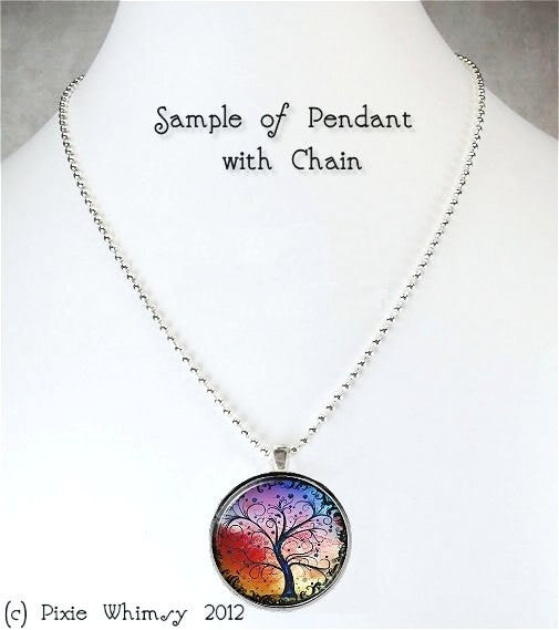 SHOOTING STAR NECKLACE, Full Moon, Tree Necklace Glass Bezel Pendant with Free 24 Inch Necklace Chain