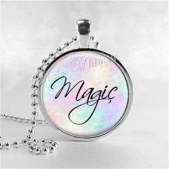 MAGIC Script Word Necklace, Inspirational Jewelry, Magic Pendant, Glass Photo Art Pendant Necklace