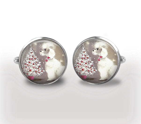 CHRISTMAS POODLE Cufflinks, Vintage Christmas Cuff Links,Poodle Cuff Links, Holiday Cufflinks, Mens Accessories, Gift For Men