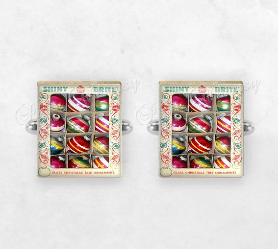 Vintage SHINY BRITE Christmas Ornaments Scrabble Tile Cufflinks, Cuff Links