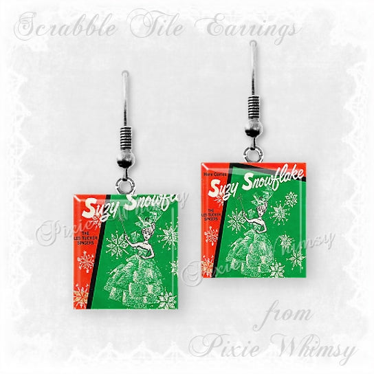 Suzy Snowflake Scrabble Tile Earrings Vintage Christmas Jewelry Retro Nostalgia, Christmas Kitsch, WGN TV Chicago, Il