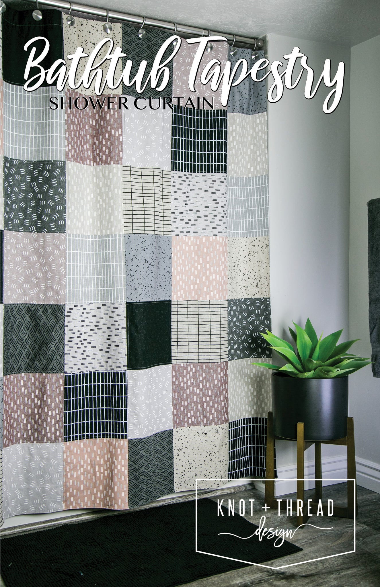 Bathtub Tapestry Shower Curtain (Paper Pattern)