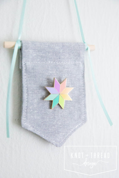 Quilt Star (Rainbow) Enamel Pin 1.25''