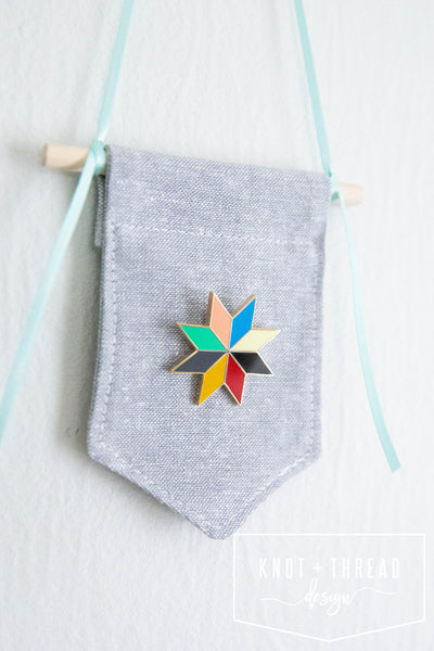Quilt Star (Patchwork) Enamel Pin 1.25''