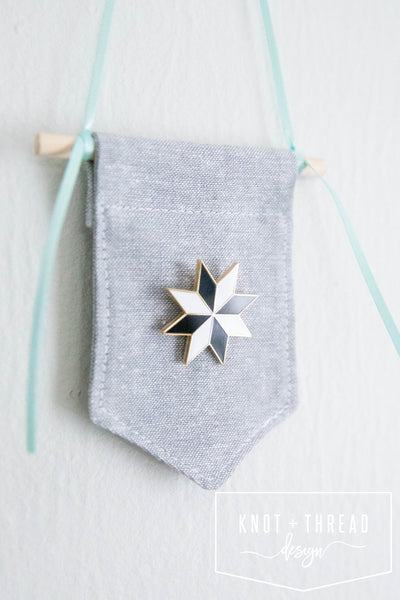 Quilt Star (Black and White) Enamel Pin 1.25''