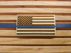 Thin Blue Line Challenge Coin Display with American Flag  -  Thin Blue Line Challenge Coin Display with American Flag  -  Challenge Coin Display