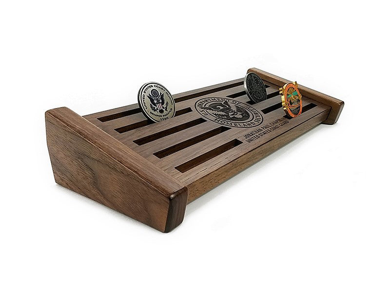 Military Challenge Coin Display - Small Walnut 20-25 Challenge Coin Display - JonnyChapps Mercantile