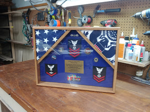Military Flag Display Case - Double Flag Military Shadow Box - Shadow Box JonnyChapps Mercantile