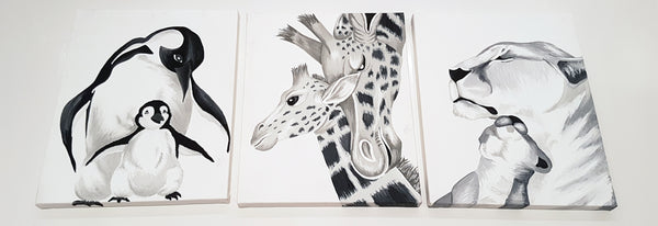 B&W Zoo Animal Canvas Prints
