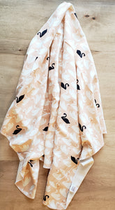 SWAN WITH ME Organic Cotton Swaddling Blanket (65194229761)