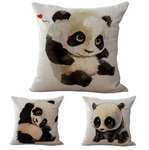 Baby Panda Cotton Pillow Case - Pandan