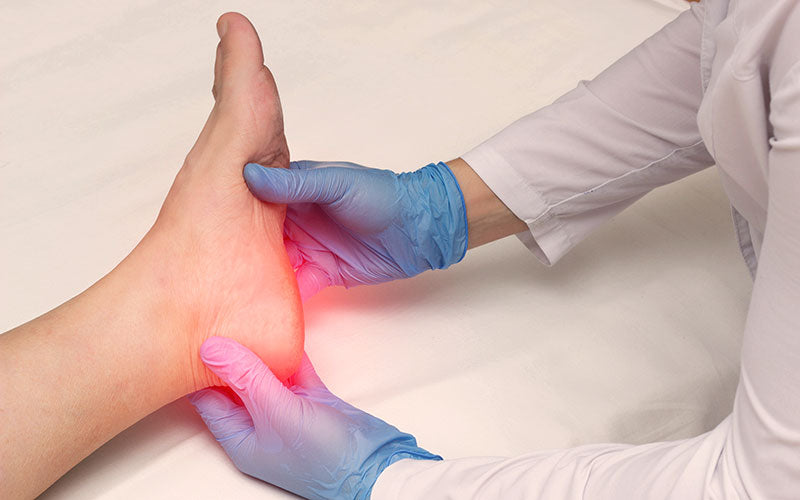 patient being examined for Plantar fasciitis