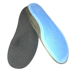 Carved Substractive foot orthotics with blue sole on white background