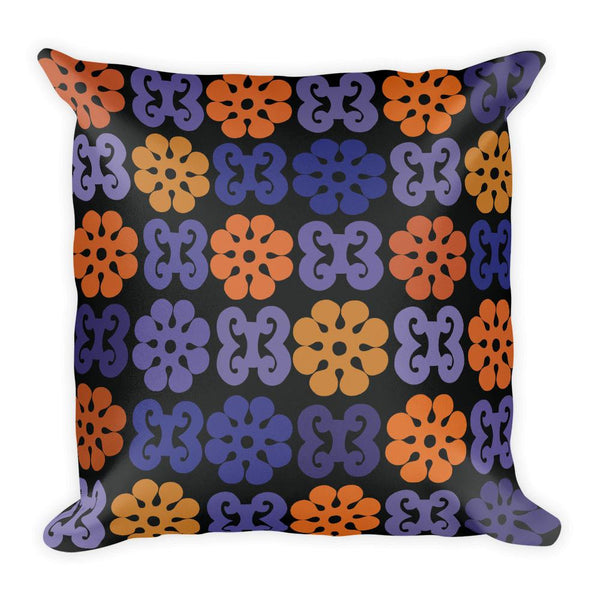 Adinkra Blue, Orange, and Black African Print Square Pillow - Adventacle