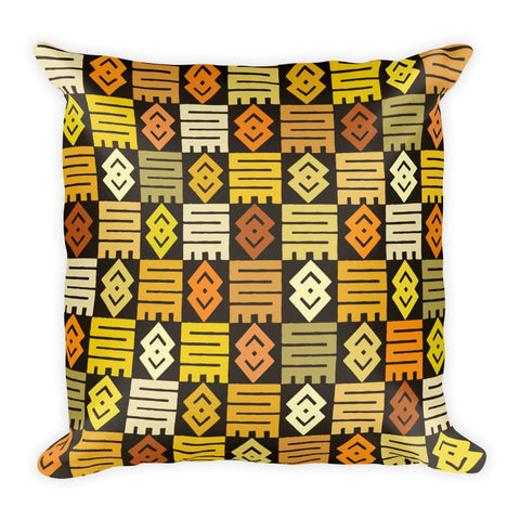 African Adinkra Print Pillow in Yellow, Cream, and Orange - Square Pillow - Adventacle