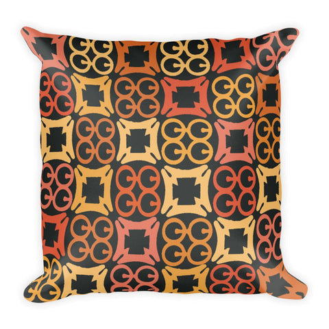 African pattern pillow with orange and yellow Adinkra symbol prints - Square Pillow - Adventacle