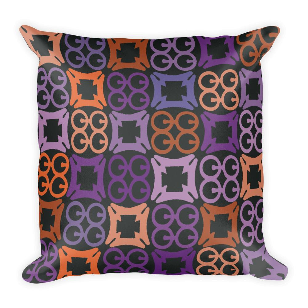 African Print Home Decor Pillow in Orange, Blue and Black -Square Pillow - Adventacle