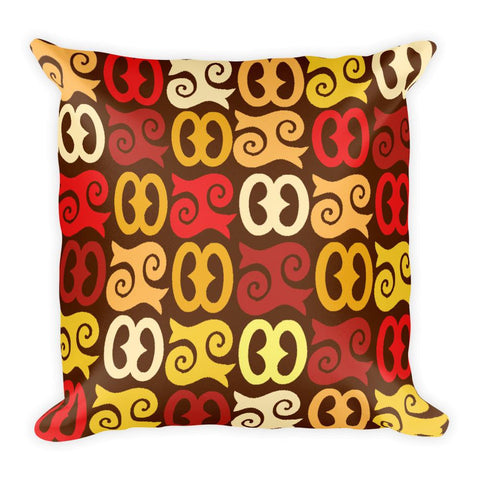 African Print Pillow with Gorgeous Adinkra Patterns in Red, Yellow, Brown - Great for Living Room or Bedroom - Square Pillow - Adventacle
