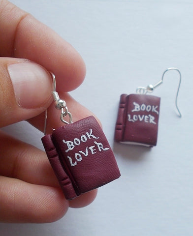 Book Lover earrings, handmade gift for teachers or librarians - Adventacle