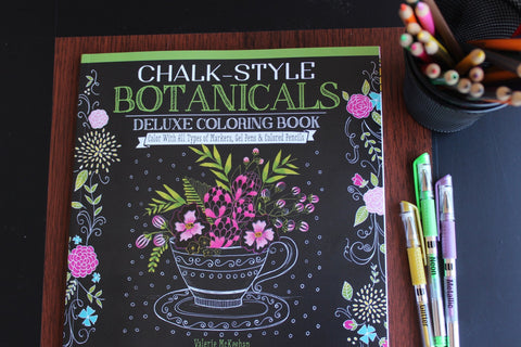 Chalkboard style adult coloring book - Chalk-Style Botanicals Deluxe Coloring Book - Color with markers, colored pencils or gel pens - Adventacle