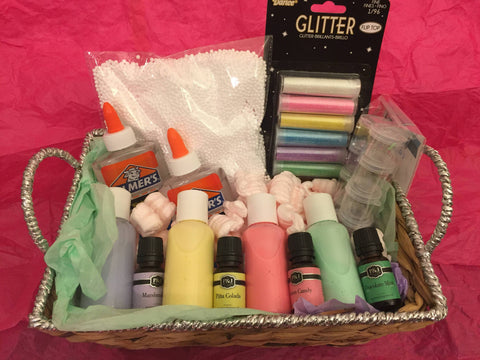 Christmas Gift Basket for slime lovers - Pastel themed slime kit gift for kids - Adventacle