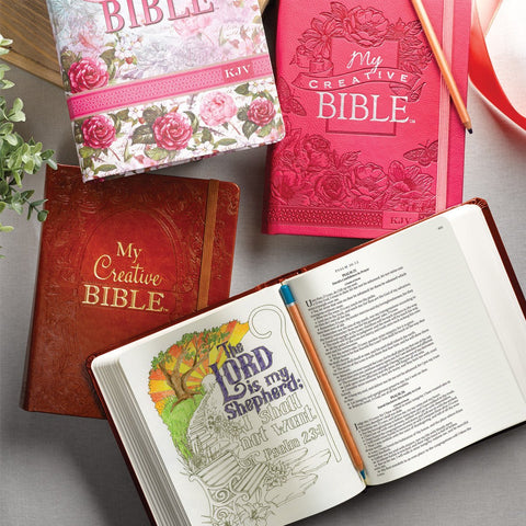 Coloring Bibles for Illustrated Faith Journaling - My Creative bible - Bible Journal - Pink Aqua Brown or Floral Cover - KJV Coloring Bible - Adventacle
