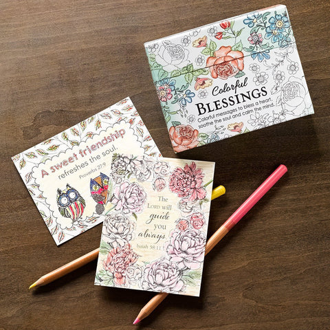 Coloring cards - Colorful blessings - Scripture cards - Cards for coloring - cards with bible verses - Affordable Stocking stuffer - Adventacle