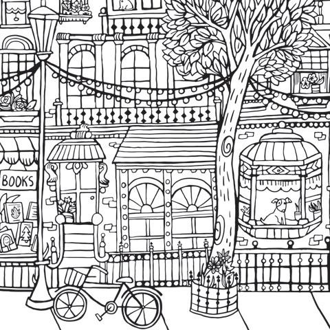 Giant Coloring Poster in City print - Wall decor to color - Great Christmas gift idea for kids or adults - Adventacle