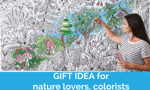 Giant Coloring Poster in Forest print - Wall Art To Color -Great Gift For Him Or Her - Adventacle