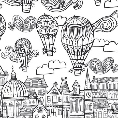 Giant Coloring Wallpaper in Balloon Print - Wall Art Home decor to color - GIANT size coloring poster - Adventacle