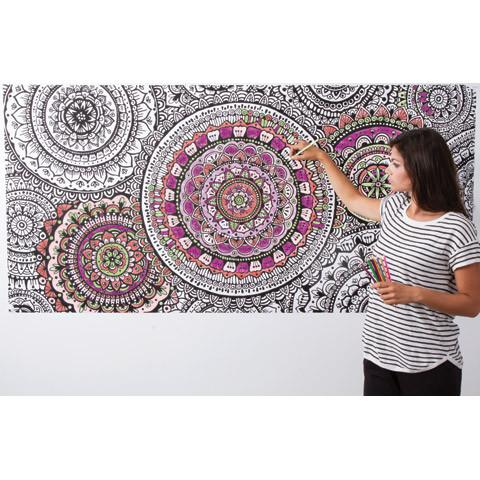 GIANT Mandala Coloring Poster for Adults - Great Christmas Gift for Him or Her - Wall Art poster decor - Adventacle