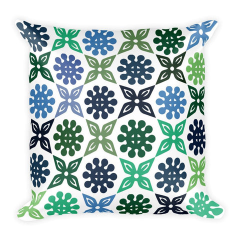 Green and Blue Patterned Square Pillow - Adventacle