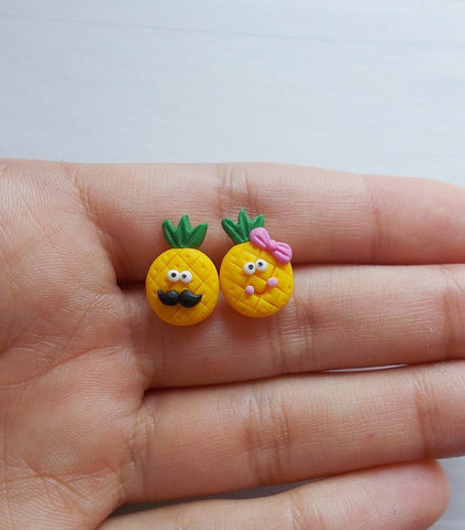 Happy pineapple earring studs - Adventacle