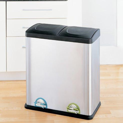 Organize It All Recycling Bin - 15.85 Gallon Step-On Stainless Steel Trash Can - 60 Liters Recycling Can - Adventacle