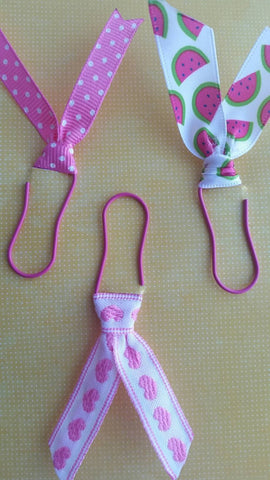 Paper clip set - Watermelon, dots and hearts - Ribbon clips - Adventacle