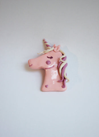 Pink unicorn brooch, handmade fashion statement piece - Adventacle