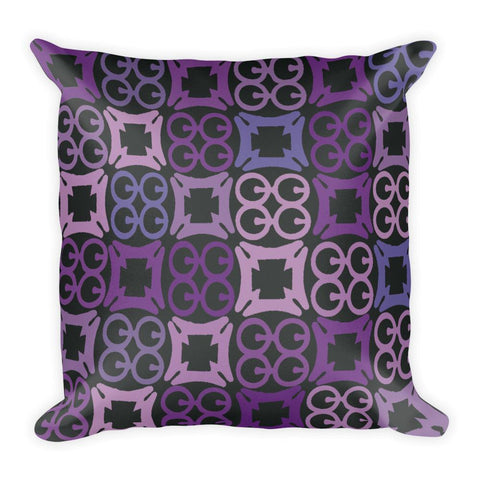 Purple, Black and Blue Square Pillow in African Adinkra Symbol Print - Home decor pillow - Adventacle