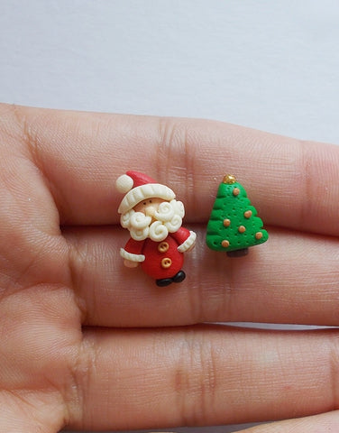 Santa stud earrings for Christmas, Handmade holiday gifts - Adventacle