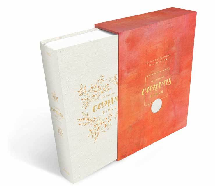 The Message Canvas Journaling Bible -White Canvas cover with gold foil detail- MSG Bible - Wedding Bible - - Adventacle