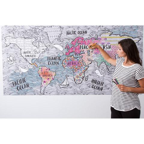 World map coloring poster- Wall art to color - GIANT size coloring map for adults - Christmas gift idea for home decorators and wanderlust travelers - Adventacle