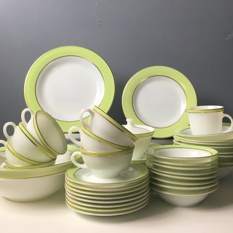Pyrex lime banded china set