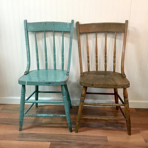 two vintage oak chairs